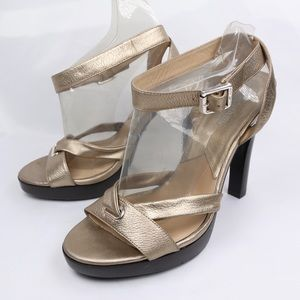 Michael Kors Gold Leather Sole High Heel Sandals